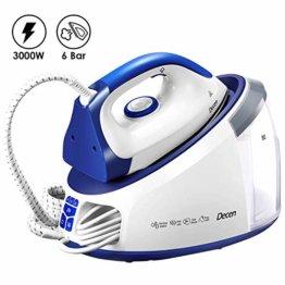 Dampfbügelstation mit 6 bar Dampfdruck 3000W Decen, Ariabler Dampf 0-140g/min, Reinigungsfunktion, Automatische Abschaltung, Weiß/Blau - 1