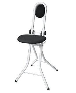 WENKO 4929121500 Stehhilfe Secura Weiß, Bügelhilfe, mit Rückenkissen, Stahl, 47 x 91.5 x 45 cm, Weiß - 1