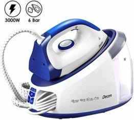 Dampfbügelstation 3000 W Dampfbügeleisen Dampfdruck 6 bar(Variabler Dampf 0-140 g/min, Dampfstoß: 480 g/min, 1,7L Abnehmbarer Wassertank, Automatische Reinigung) Weiß/Blau - 1