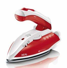 AEG DBT 800 Reise-Dampfbügeleisen (Variabler und kontinuierlicher Dampf, ergonomischer Klappgriff, inkl. Reisebeutel, Edelstahl Bügelsohle, Dampfstoß 45g/Stoß, 60 ml Wassertank, 1,9 m Kabel, rot/weiß) - 1