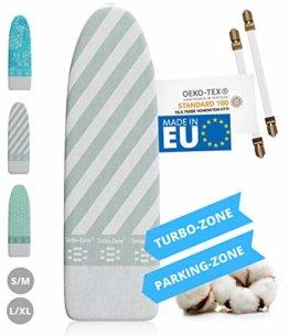 Innovativer Bügelbrettbezug für Dampfbügeleisen I Made IN EU I Bügeltischbezug mit Turbo Zone, Parking Zone und Spanner für Bügelbrett-Bezug - 1